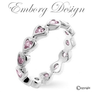 Sterling Sølv Eternity Band med rosa Hjerter - STR. 7!